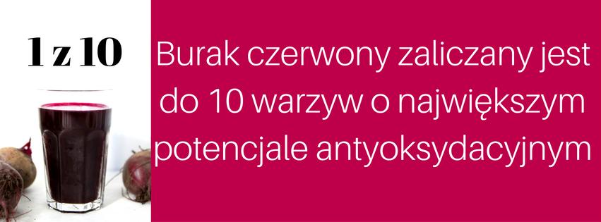 Burak czerwony zaliczany jest do 10 warzyw o największym potencjale antyoksydacyjnym